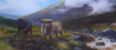 Highland cattle painting by J Crawford