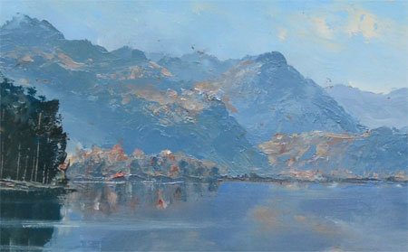 Detail from Derwent Water looking south across Calf Close Bay by A T Blamires