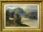 John Henry Boel painting of Mountainous Loch View