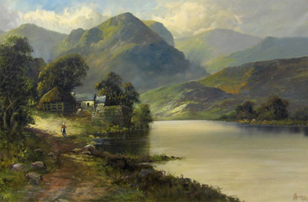 Detail from Mountainous Loch view by John Henry Boel