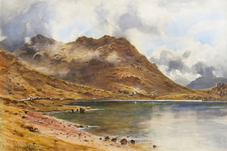Detail from Loch at the foot of Ben More Crianlarich by Herbert Moxon Cook