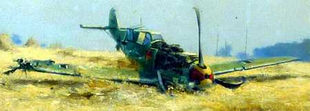 Detail of David Shepherd original painting depicting crashed Messerschmitt during Battle of Britain