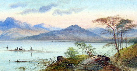 Detail from Highland Loch with figures and Boats by William Henry Earp