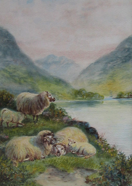 Detail from Sheep by a Lochside by John Shirley Fox