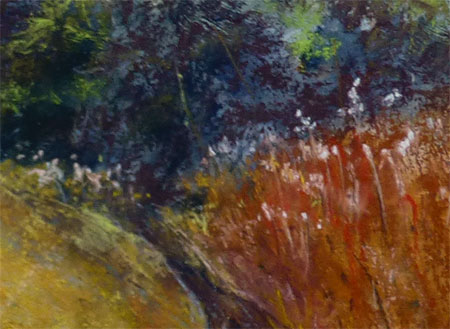 Detail from painting Summer Fields by the Glenderamackin by Lynne Frost