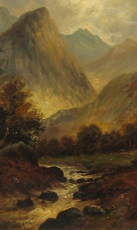 Detail from Highland Spate River by by J McGregor (alias Francis E Jamieson)