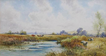 Detail from River Landscape with Sheep and Cattle by John Keeley
