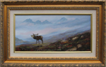 Leslie Lamb painting of Roaring Stag Fisherfield Forest