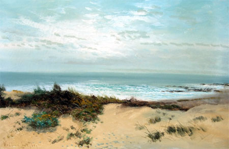 Detail from Coastal scene with sand dune by William Langley
