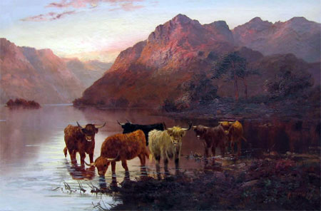 Detail from Highland cattle watering by A Lewis