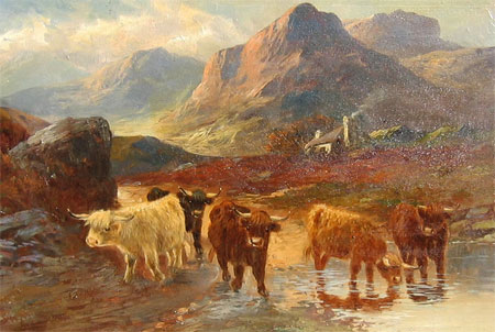 Detail from Highland Cattle by a Crofthouse by A Lewis