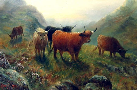Detail from Highland Cattle in the Glen by A Lewis