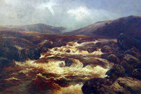 Detail from Highland Spate River by William Manners