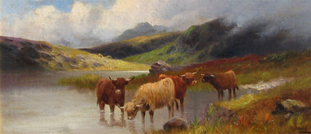 Detail from Highland Cattle Wester Ross by Charles W Oswald