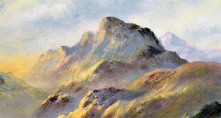 Detail from Mountain landscape by Wendy Reeves