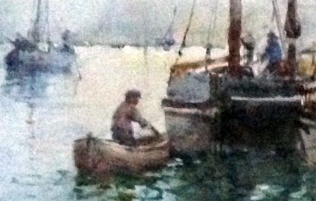 Detail from painting Shipping in Whitby Harbour by Frank Rousse