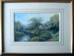 Hilary Scoffield painting of Riverside scene with cottage