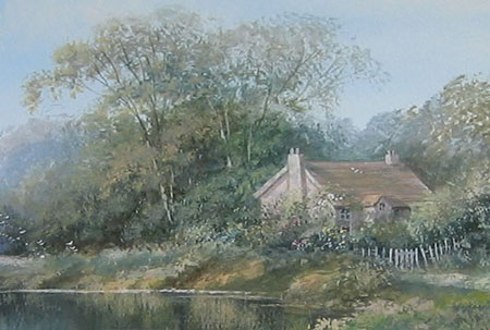 Detail from Riverside scene with cottage by Hilary Scoffield