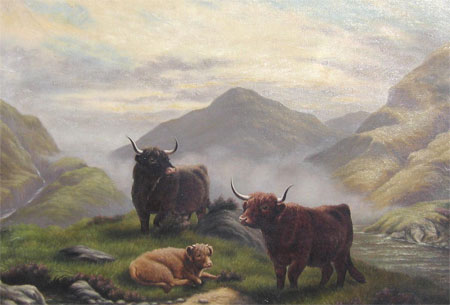 Detail from Highland Cattle in a Scottish Glen by E Smith