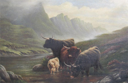 Detail from Highland Cattle in a misty Glen by E Smith