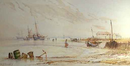 Detail from Coastal landscape with boats buildings and figures by William Stewart