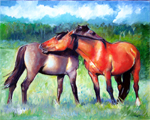 Painting of horses by D C Taylor