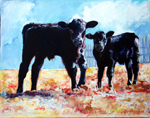 Painting of Curious Calves by D C Taylor