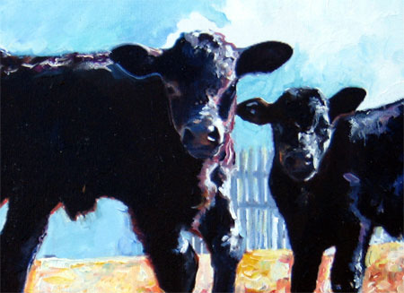 Detail from Curious Calves by D C Taylor