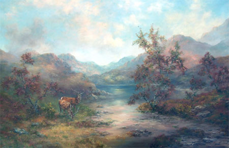 Detail from Stags by a highland loch by Prudence Turner