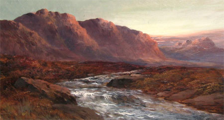 Detail from River in spate Strathearn Perth by Frank Walters