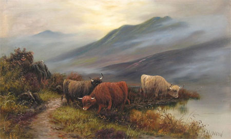 Detail from Highland Cattle by a Lochside by H Ward