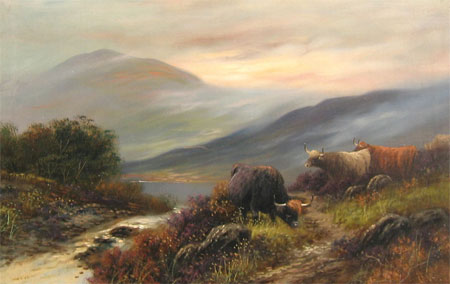 Detail from Highland Cattle by a stream by H Ward